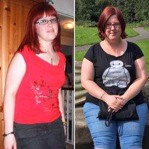 A picture that shows Kat in 2009 on the left, standing up wearing a red top with her glasses and red hair with a fringe, contrasted with a picture on the right of Kat in 2019 sitting on a bench with a slightly different haircut and red glasses.